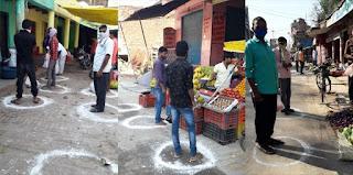 जौनपुर : DM के निर्देश का दुकानदारों ने किया पालन, सोशल डिस्टेंसिंग के लिए बनाये गोले