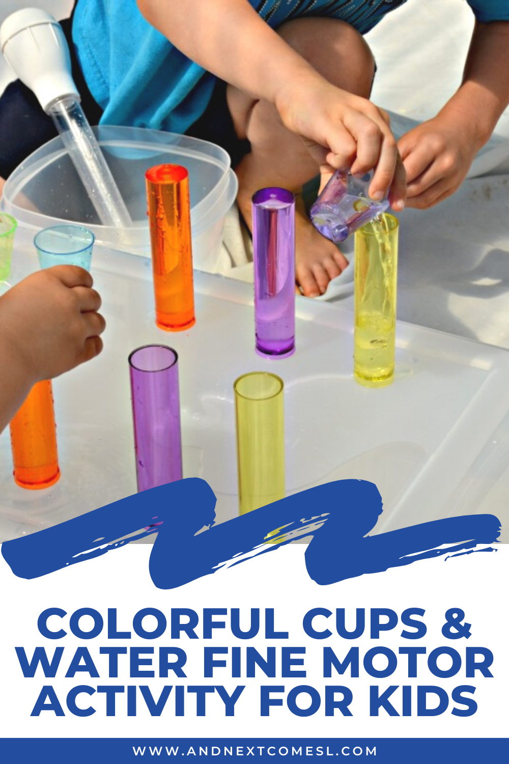 Colorful cups & water fine motor activity for toddlers and preschoolers to work on fine motor skills, scooping and pouring, and so much more!