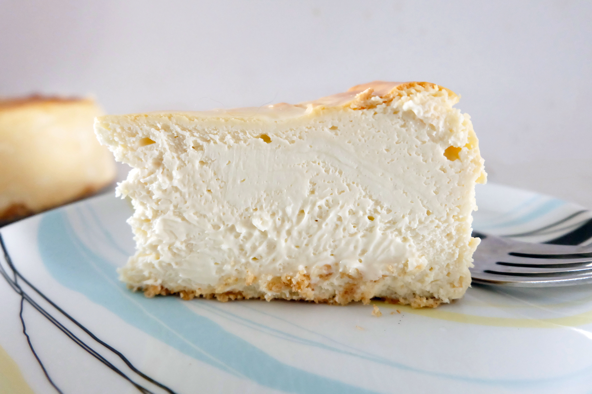 New York Style Cheesecake slice side view