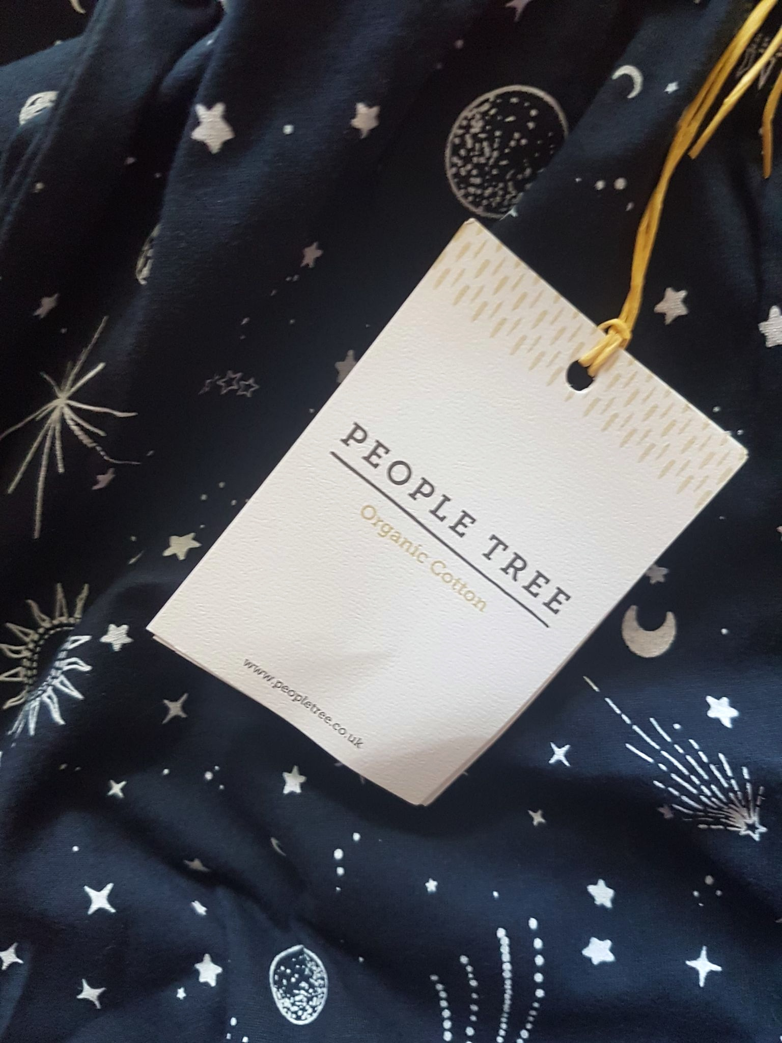 organic cotton navy blue pyjama bottoms with stars and constellations from People Tree