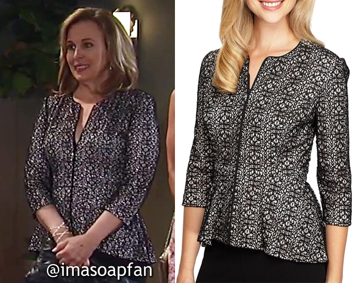Laura Spencer, Genie Francis, Black Patterned Lace Dress Jacket, Alex Evenings, General Hospital, GH