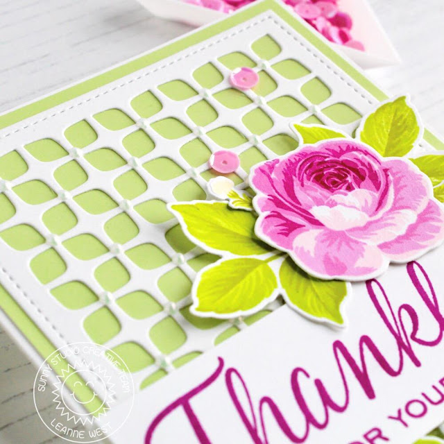 Sunny Studio Stamps: Frilly Frames Dies Elegant Leaves Everything's Rosy Thank You Card by Leanne WestSunny Studio Stamps: Frilly Frames Dies Elegant Leaves Everything's Rosy Thank You Card by Leanne West