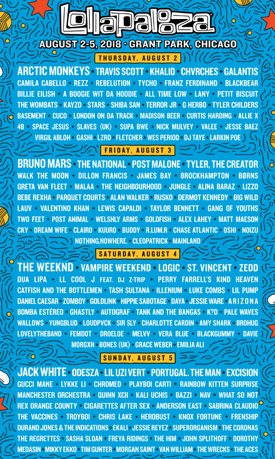 lollapalooza 2018 lineup chicago