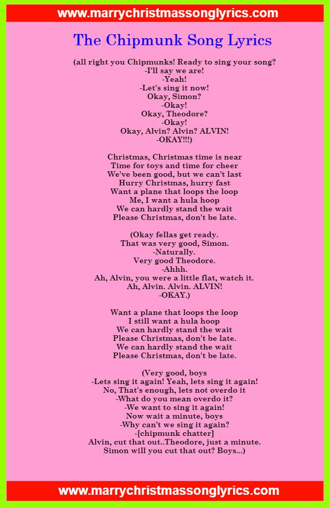 The Chipmunk Song Lyrics Image