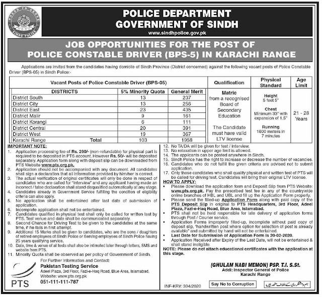 Driver Jobs Police Department Sindh Febraury 2020 - 2000+ Jobs In Sindh Police In Karachi