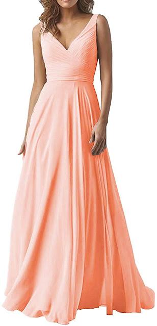 Cheap Peach Chiffon Bridesmaid Dresses