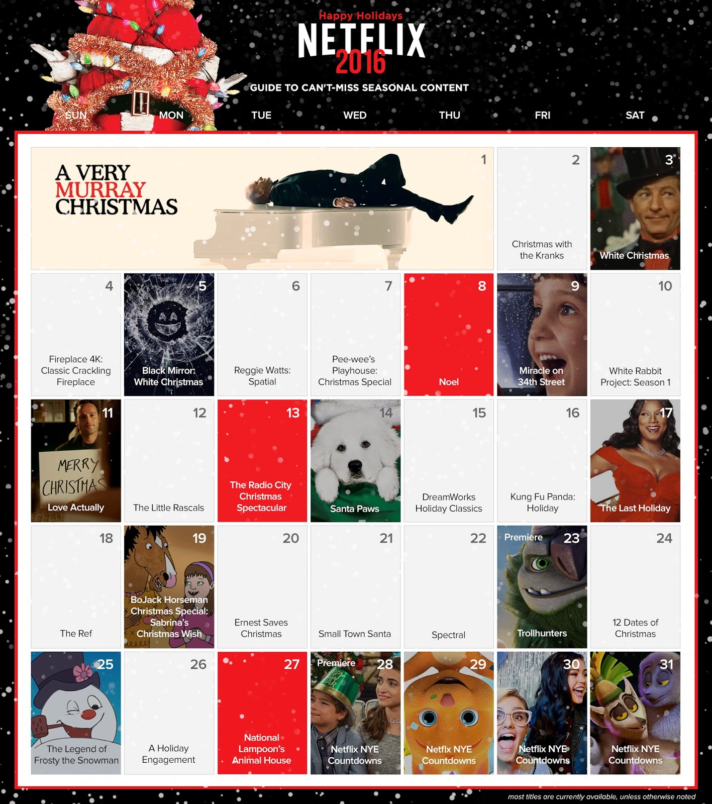Netflix Holiday Calendar