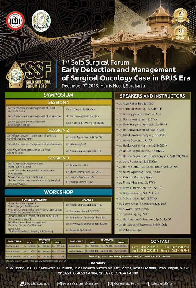 1St Solo Surgical Forum 2019 : One Day Symposium and Workshop 7 Desember 2019