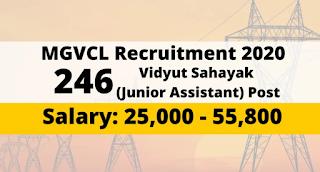 Madhya Gujarat Vij Company Limited (MGVCL) Recruitment for 246 Vidyut Sahayak (Junior Assistant) Posts 2019