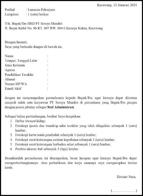 Contoh Surat Lamaran Pekerjaan Untuk Staf Administrasi (Fresh Graduate Dan Experienced)