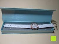 Box zu klein: Ostan Damen Uhren Mode Weiß Leder Runde Zifferblatt mit Zirkonia Armkette Armband Armbanduhr Uhr