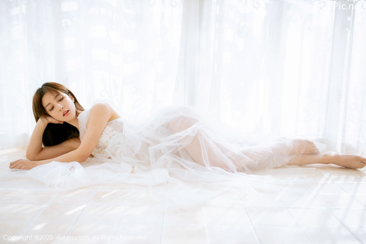 XIUREN No.1914 - Chinese model 林文文Yooki so Sexy with Transparent White Lace Dress - Picture 9