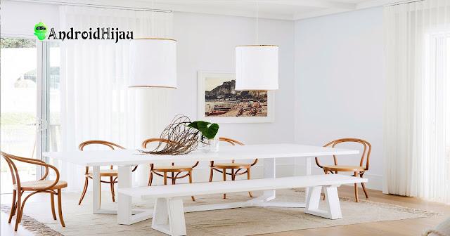 konsep meja makan putih minimalis
