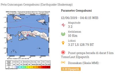 Pusat gempa berada di darat 5 km TimurLaut Elpaputih dan dirasakan di daerah Elpaputih.