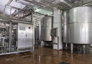 process tanks in dairy food processing facility
