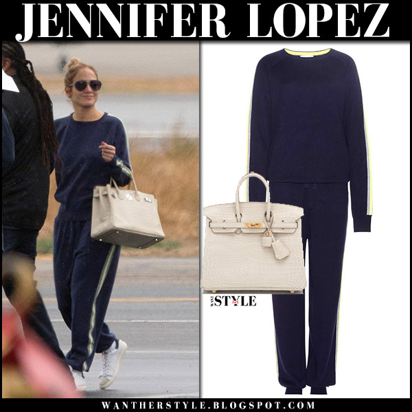 Jennifer Lopez in navy blue sweatshirt and sweatpants olivia von halle with cream leather tote hermes birkin street fashion january 9