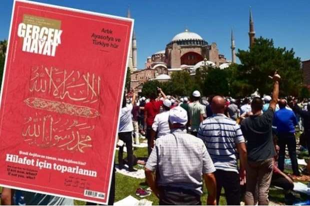 Sebuah majalah Turki milik kelompok media pro-pemerintah mendapat tantangan kecaman dari sekuleris Turki setelah menyerukan deklarasi ulang kekhalifahan Islam di negara itu. Seruan ini muncul setelah Presiden Recep Tayyip Erdogan mengkonversi Hagia Sophia kembali menjadi masjid