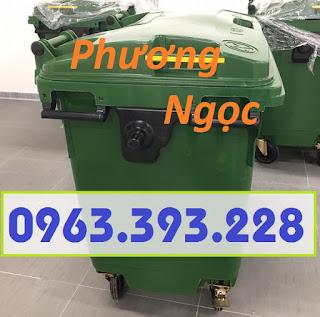 Xe gom rác nhựa HDPE 4 bánh xe, xe đẩy rác nhựa 660L, xe rác công nghiệp 32e80aeb1a6ef830a17f