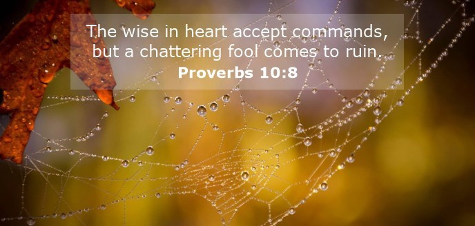 The wise in heart accept commands, but a chattering fool comes to ruin.