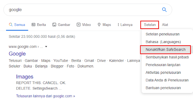 Cara Mematikan SafeSearch Google Chrome