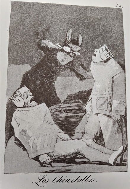 Goya's etching: Los chincillas