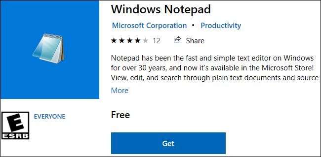 Windows Notepad متاح للتنزيل في متجر Windows 10.