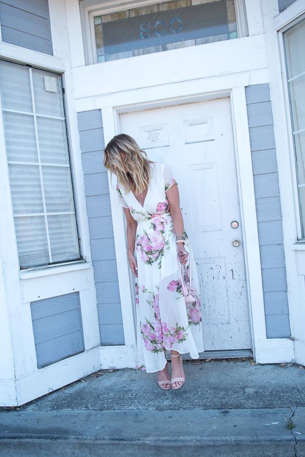 floral print wrap style dress