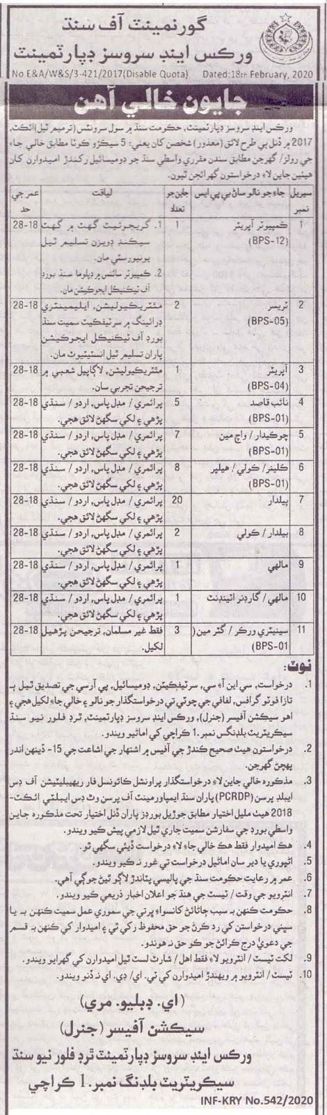Works & Services Department Sindh Jobs 2020