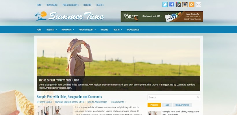 SummerTime Free Blogger Template