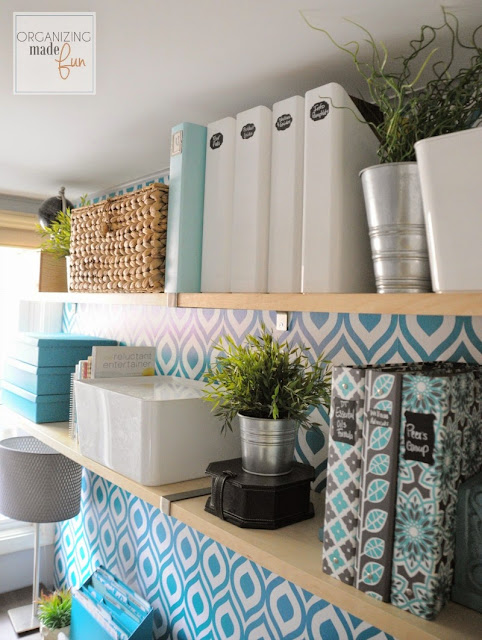 Open shelving in the home office filled with turquoise accents :: OrganizingMadeFun.com