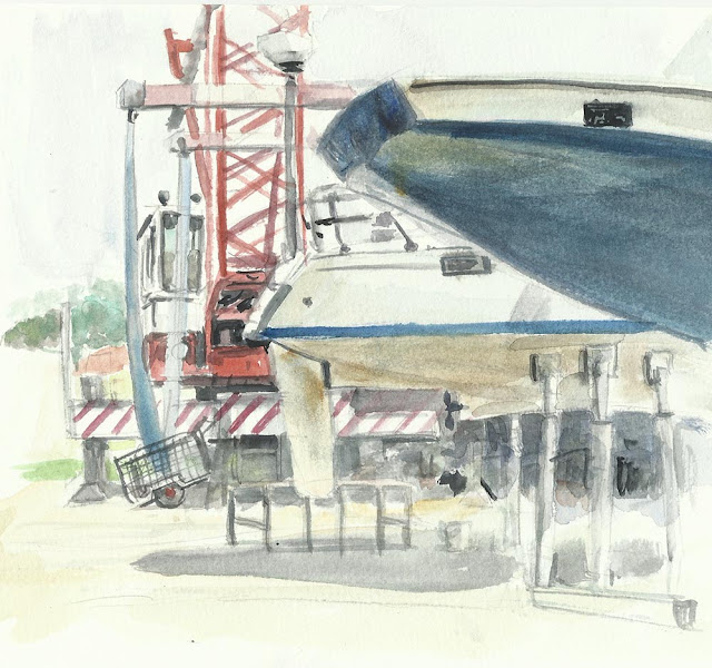 boat yard with crane and hulls of boats sketch
