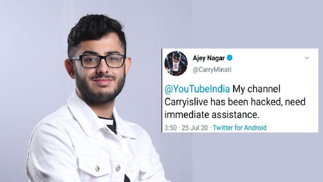Carryminati YouTube account got hacked, hackers asks for bitcoin donations. source: social media