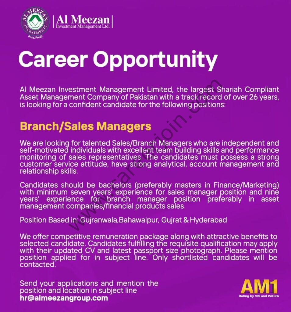 Al Meezan Investment Management Ltd Jobs August 2021