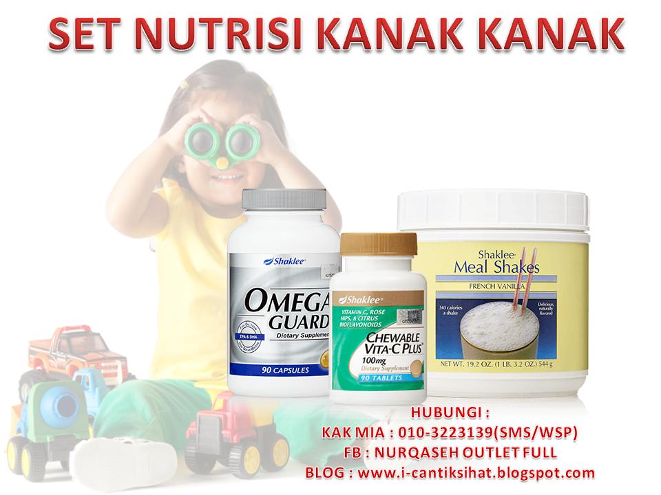 set nutrisi kanak kanak, omega guar, mealshakes, vita c chewable, supplement utk anak, kerap deman, imun sistem