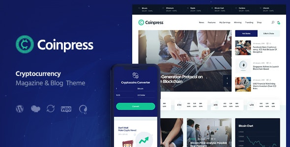 Coinpress v1.0 - ICO Cryptocurrency Magazine & Blog WordPress Theme