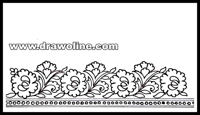 5 engaged beautiful flowers border design drawings for Sadi ka kinara/ sari ka kinara drawings 2020 for hand embroidery