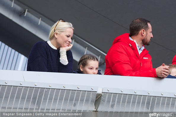 Crown Princess Mette-Marit of Norway, Princess Ingrid Alexandra of Norway and Crown Prince Haakon of Norway attend the FIS Nordic World Cup in Oslo