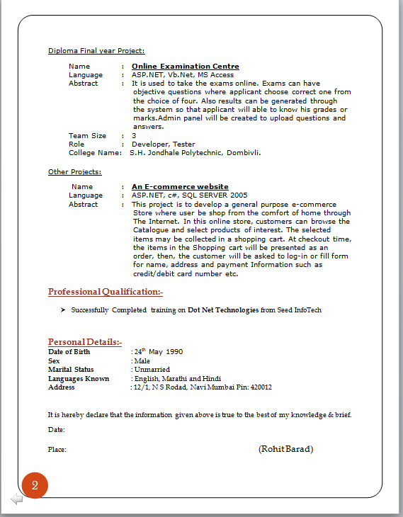 Cv Information And Tools Digitrax Inc Professional Curriculum Vitae Format