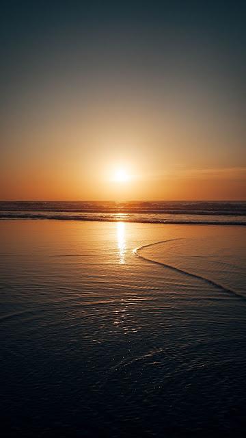 Sun, Sunset, Sea, Waves, Dusk