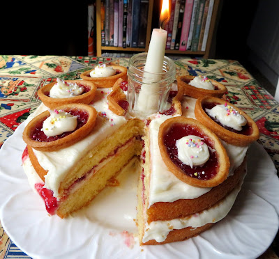 Raspberry Jam Tart Birthday Cake