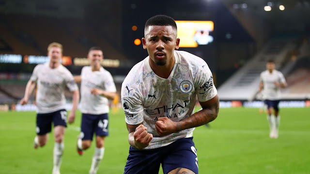 Gabriel Jesus celebrates in front of the camera after adding Manchester City's third goal in added time during Wolves 1-3 Man City