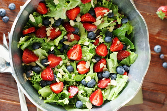 Strawberry, Blueberry & Greens Salad with Honey Vinaigrette