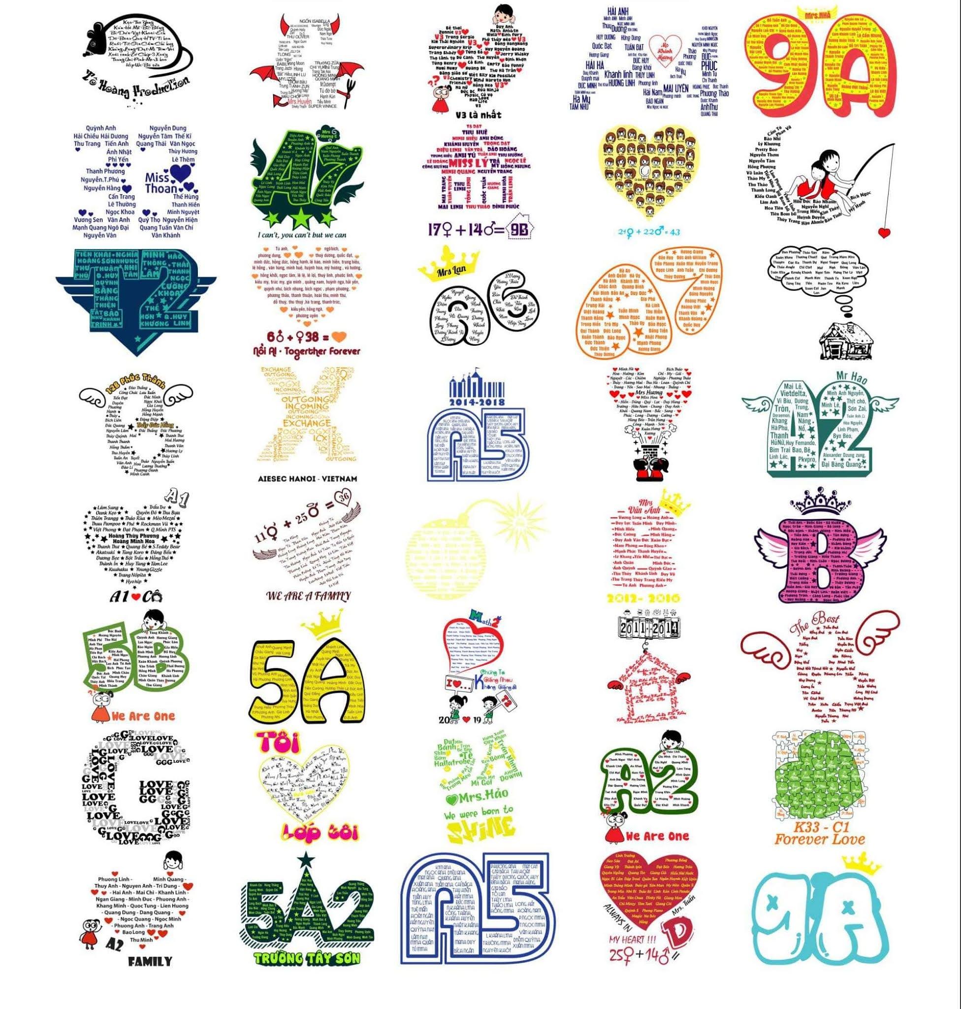 Một số mẫu logo áo lớp in tên thành viên