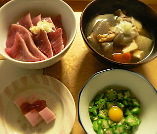 カツオ丼 オクラ 汁