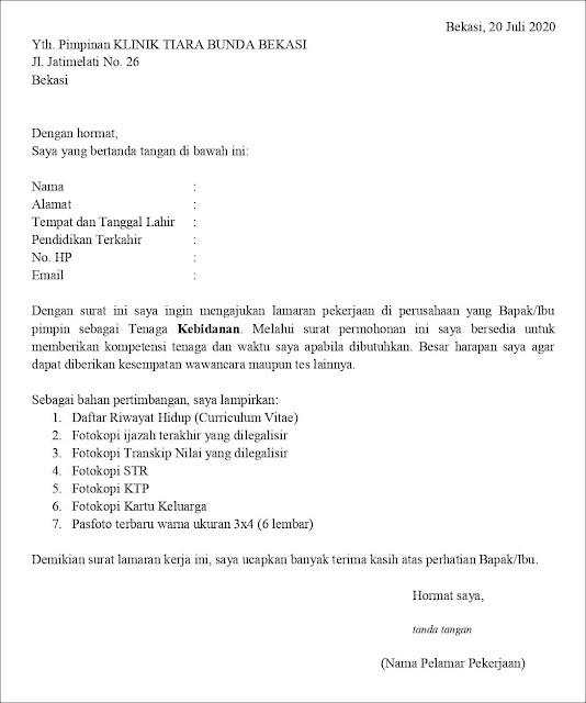 Contoh Surat Lamaran Pekerjaan Untuk Kesehatan