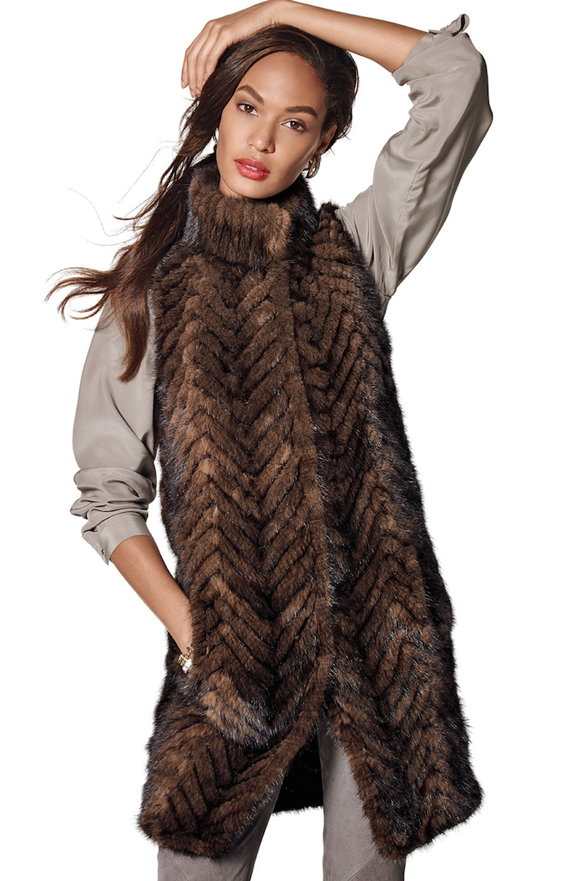 Belle Fare Herringbone Mink Fur Vest