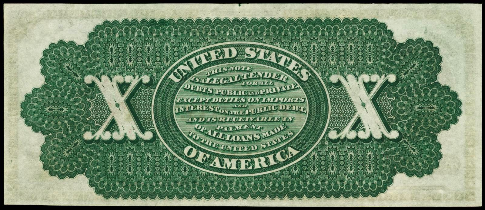 United States Paper Money $10 Legal Tender Note 1863