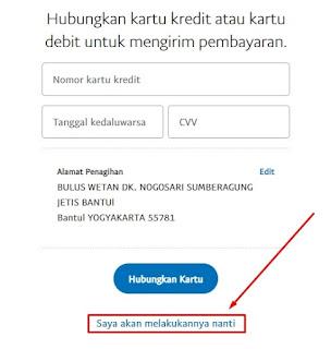 Notifikasi Memasukan Kartu Kredit