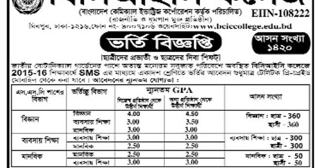 HSC and Equivalent Admission Circular 2015-16 of