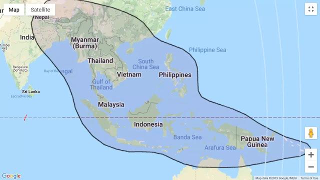 Jangkauan C-Band dari Thaicom 6